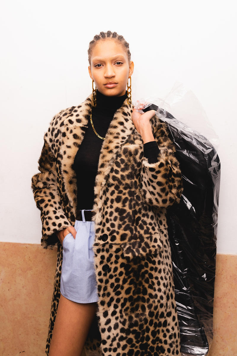 Alexander Wang December 2018 Runway Show Backstage Model Leopard Fur Coat