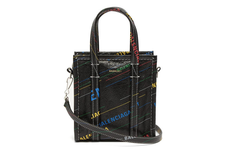 Balenciaga Bazar Shopper Bag XXS Black Leather Multicolored Logo