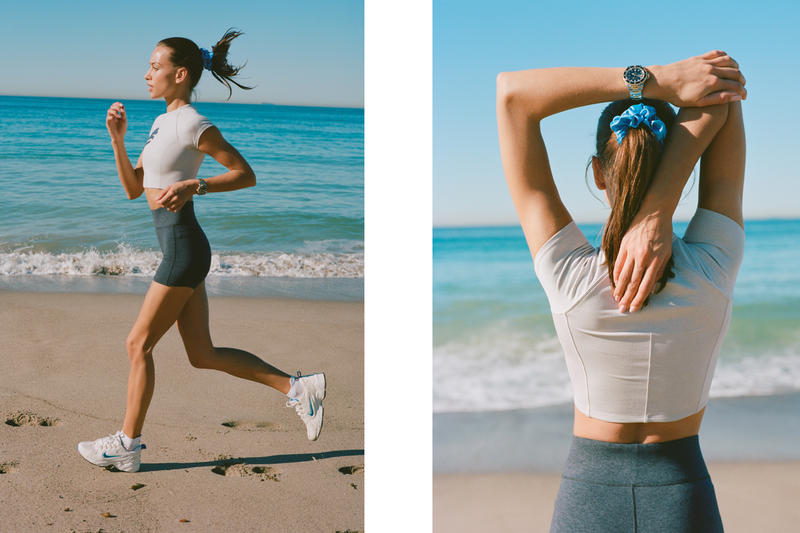 Bandier Campaign Emily Oberg Top White Shorts Grey Nike Sneakers White