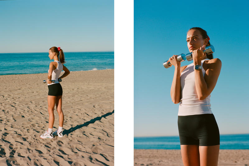 Bandier Campaign Emily Oberg Top White Shorts Black Reebok Sneakers