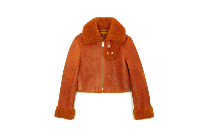 Cropped Shearling Flight Coat Orange