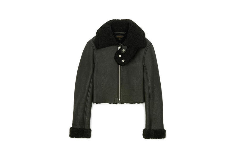Cropped Shearling Flight Coat Black