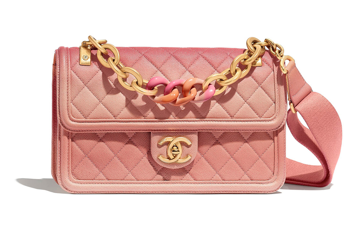 C Pink Ombré Quilted Flap Bag