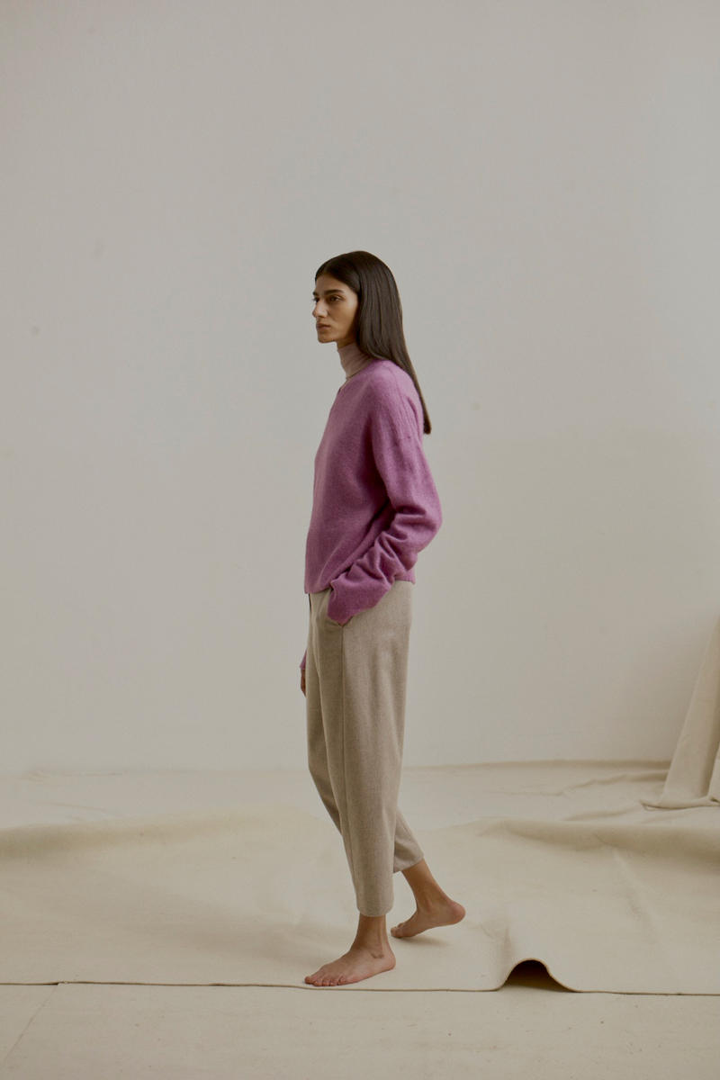 COS Fall Winter 2018 Collection Sweater Purple Trousers Tan