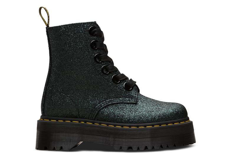 Dr. Martens Platform Glitter Molly Boots White Green Black