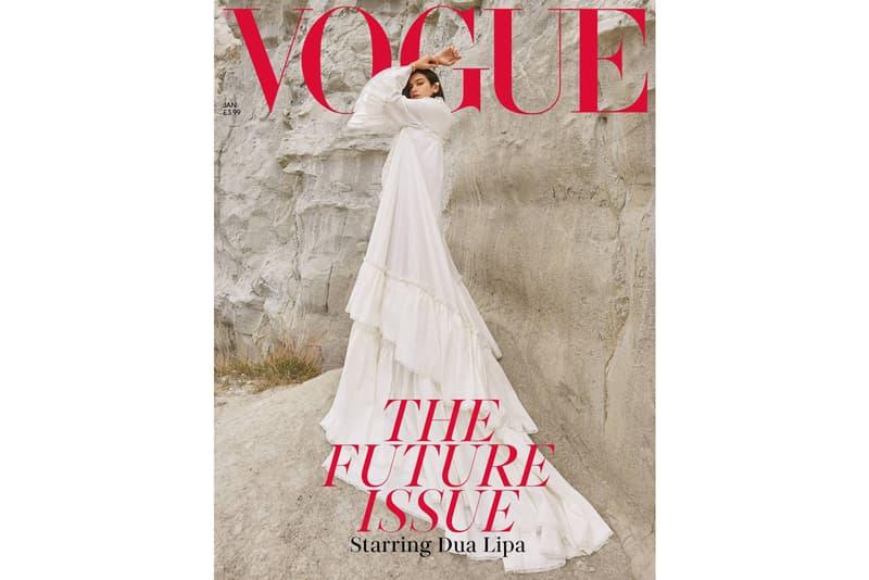 Dua Lipa British Vogue January 2019 Cover Gucci Dress White