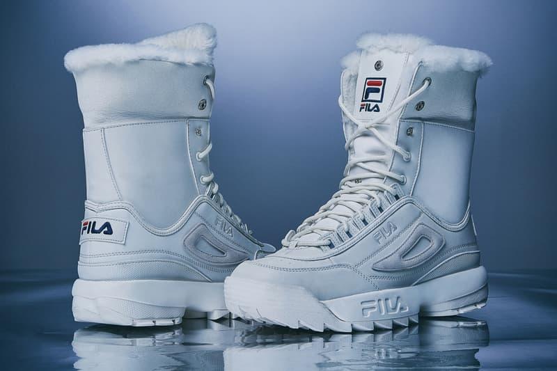 FILA Disruptor 2 Sneaker Boots Black Beige White Shearling