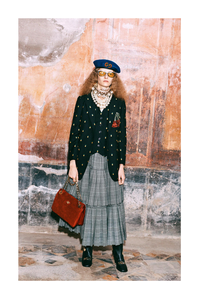 Gucci Pre-Fall 2019 Collection Lookbook Logo Blazer Top Shoes Black Skirt Grey White Bag Red