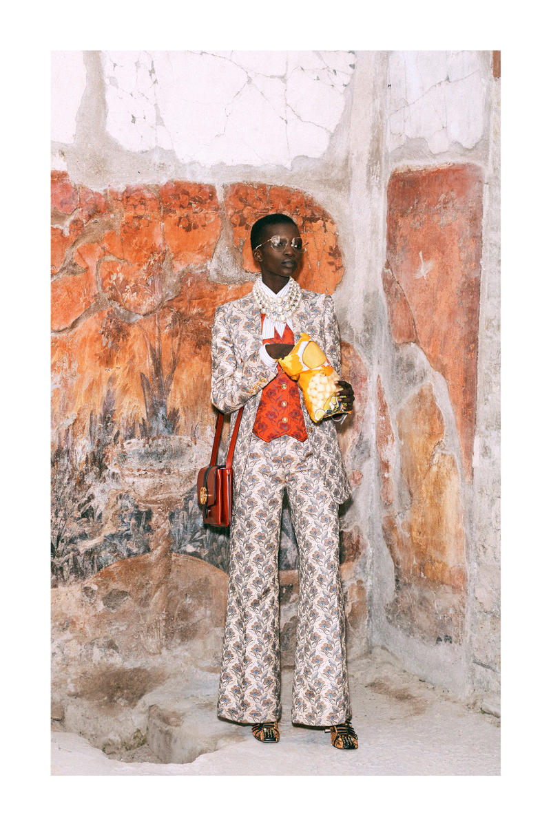Gucci Pre-Fall 2019 Collection Lookbook Printed Blazer Trousers Cream Brown