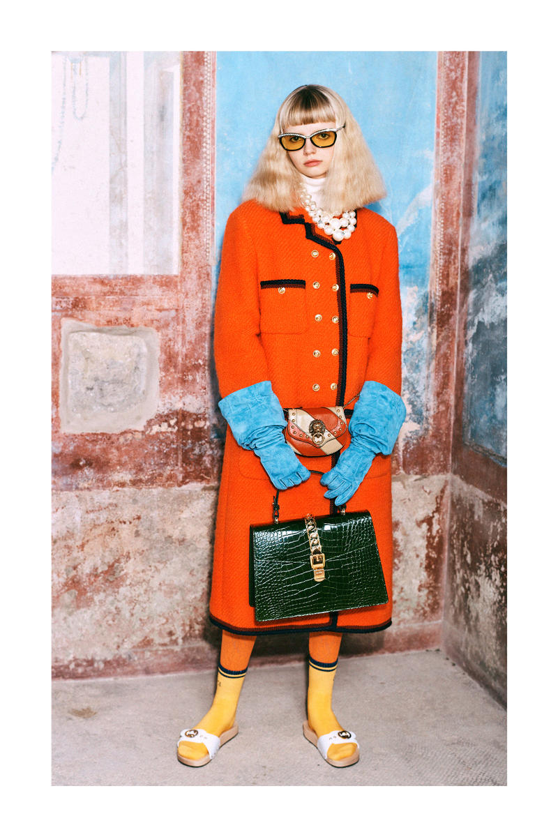 Gucci Pre-Fall 2019 Collection Lookbook Long Coat Orange Navy Socks Yellow