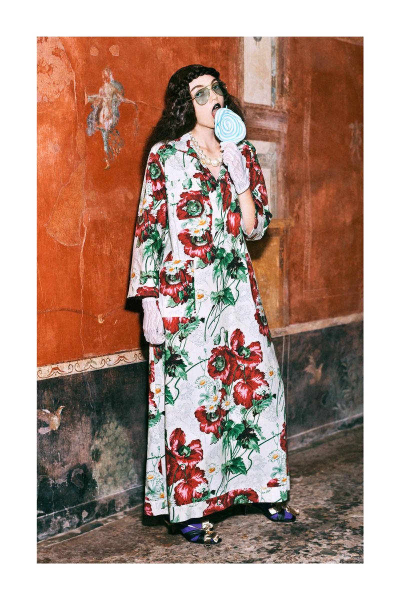 Gucci Pre-Fall 2019 Collection Lookbook Logo Floral Dress White Red Green