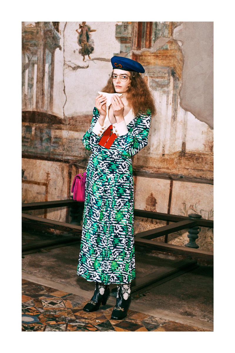 Gucci Pre-Fall 2019 Collection Lookbook Dress Green White Shoes Black