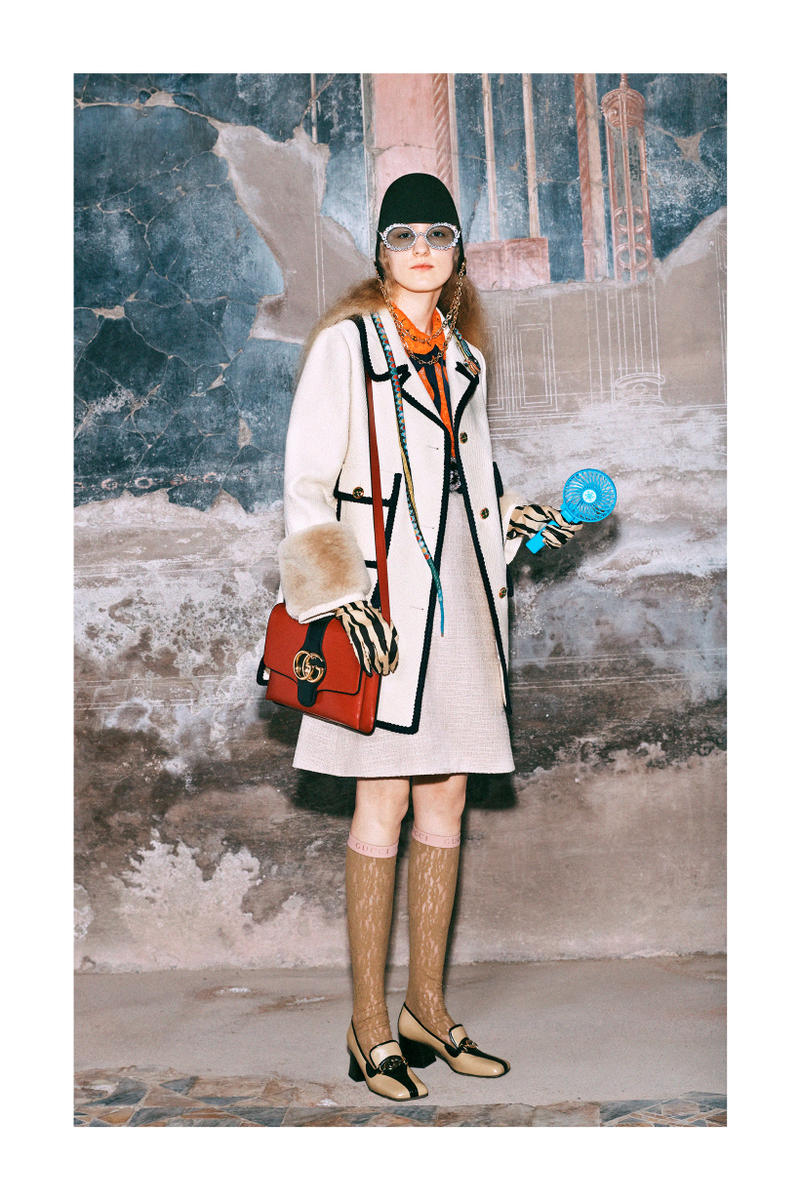 Gucci Pre-Fall 2019 Collection Lookbook Skirt Jacket Cream Navy Bag Red