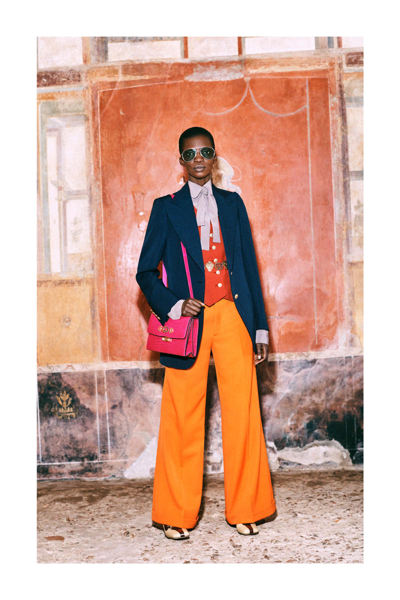Gucci Pre-Fall 2019 Collection Lookbook Pants Orange Jacket Blue Bag Red