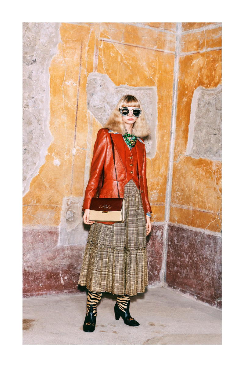 Gucci Pre-Fall 2019 Collection Lookbook Jacket Red Skirt Brown