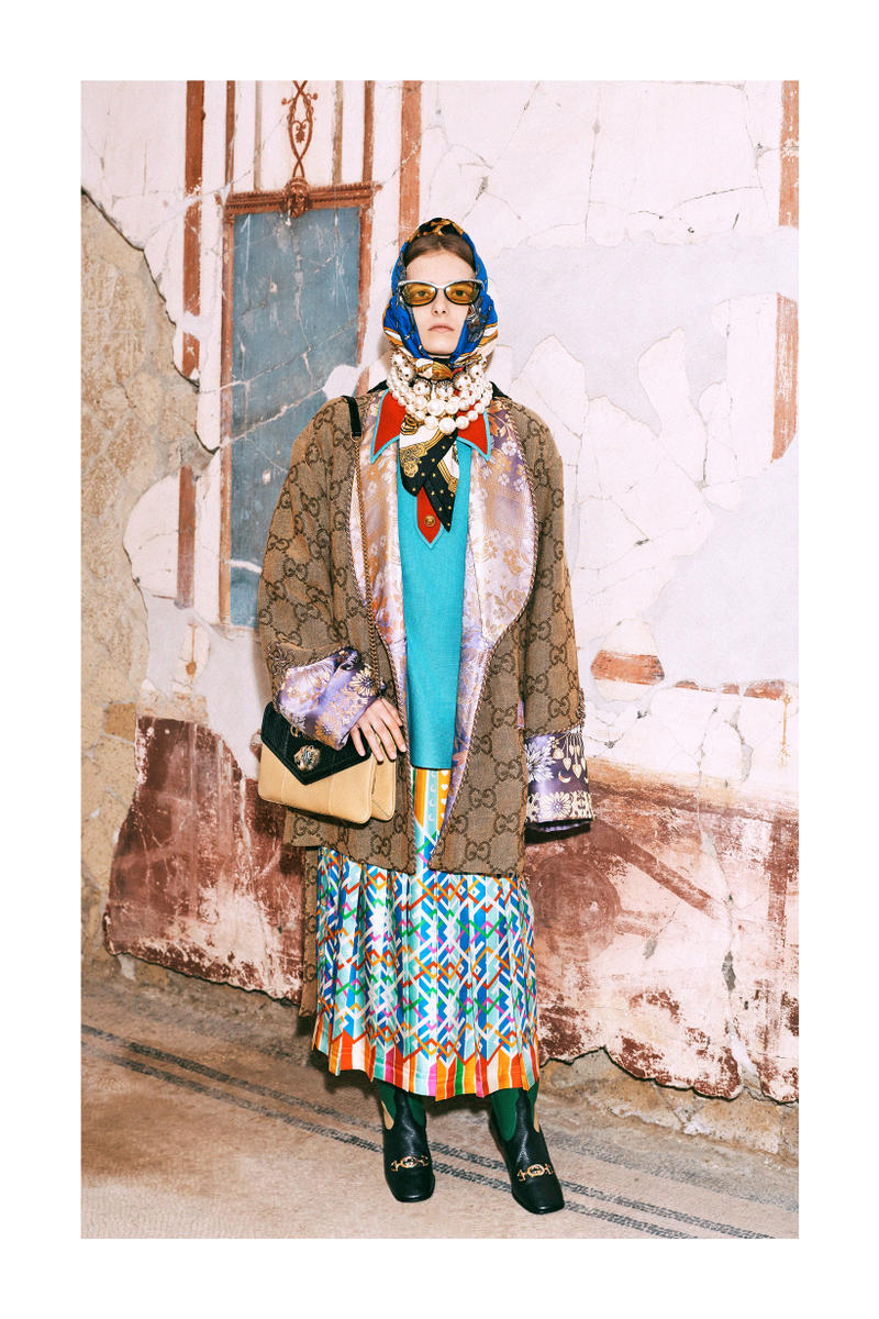 Gucci Pre-Fall 2019 Collection Lookbook Logo Shawl Brown Top Skirt Teal Glasses Yellow