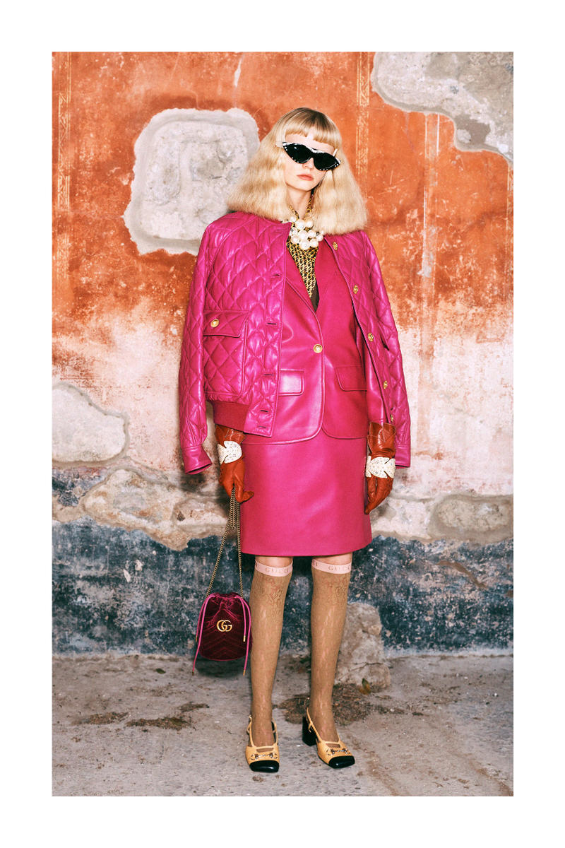 Gucci Pre-Fall 2019 Collection Lookbook Blazer Skirt Pink Boots Shoes Brown