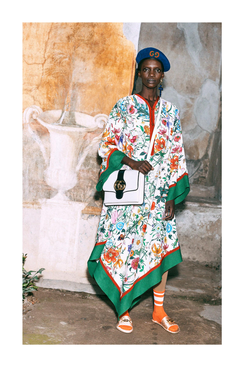 Gucci Pre-Fall 2019 Collection Lookbook Scarf Dress White Green Red Socks Orange