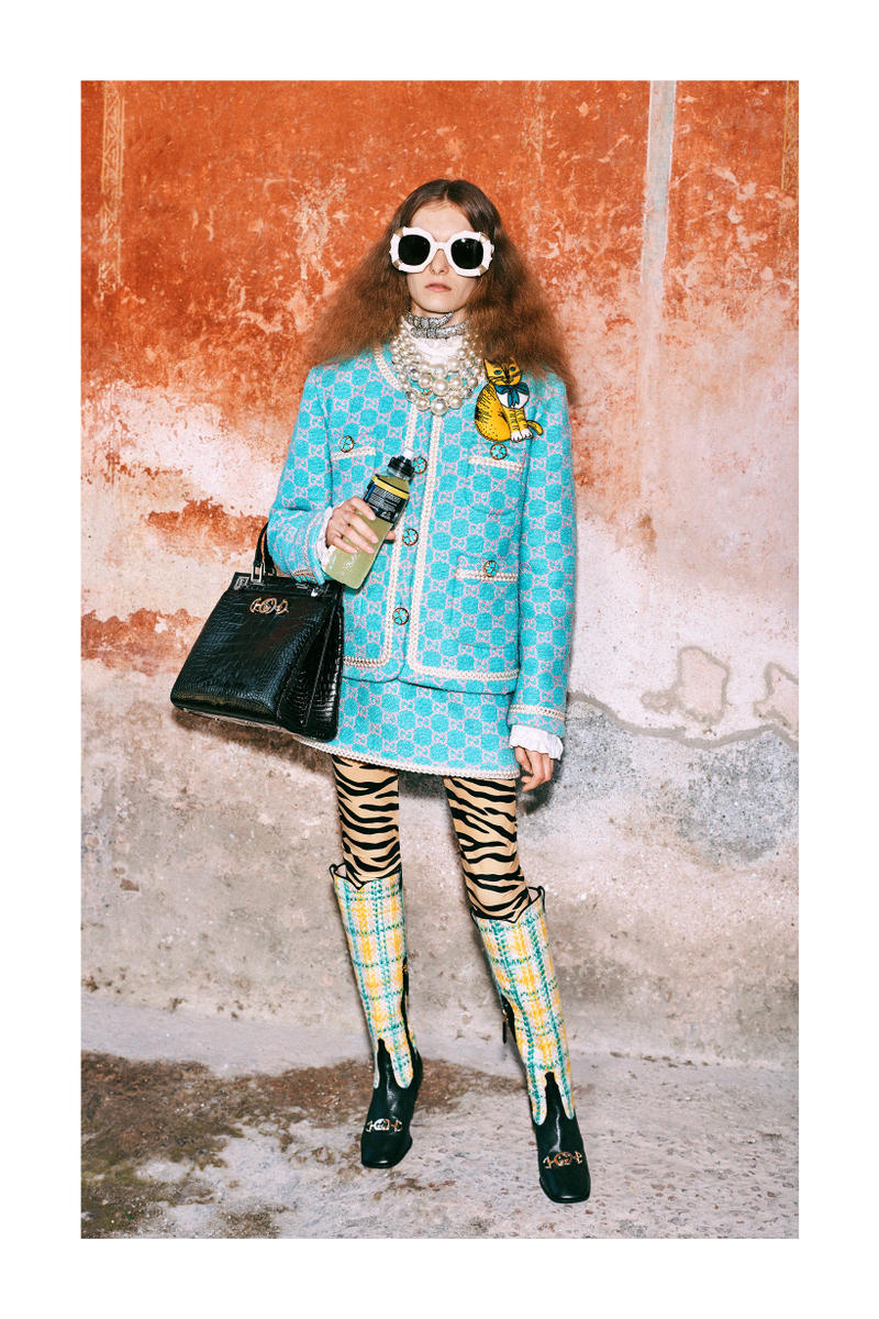 Gucci Pre-Fall 2019 Collection Lookbook Suit Blazer Skirt Teal