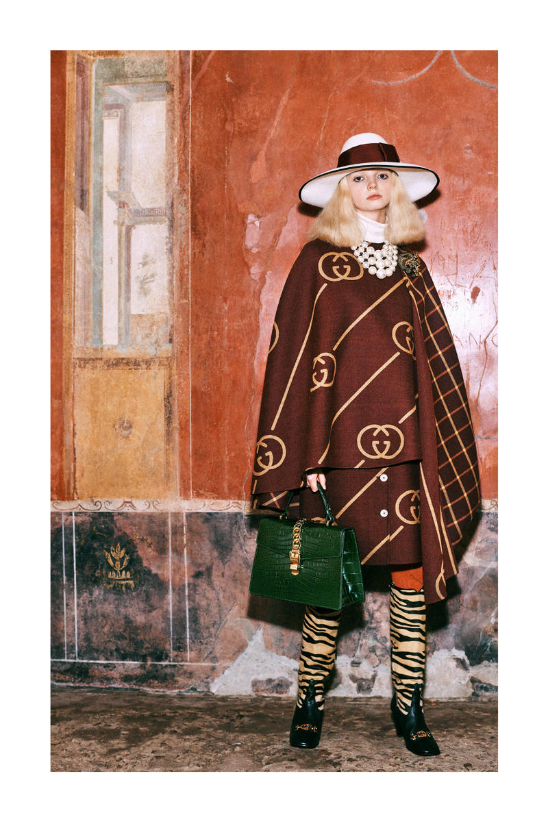 Gucci Pre-Fall 2019 Collection Lookbook Logo Shawl Jacket Brown Gold Bag Green