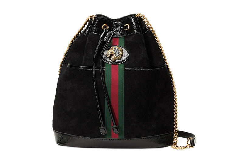 Gucci Rajah Black Suede Gold Tiger Head Bucket Bag