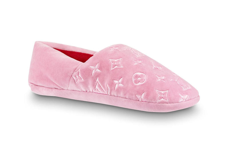 Louis Vuitton Monogrammed Dreamy Slippers Rose Pink Black Velvet