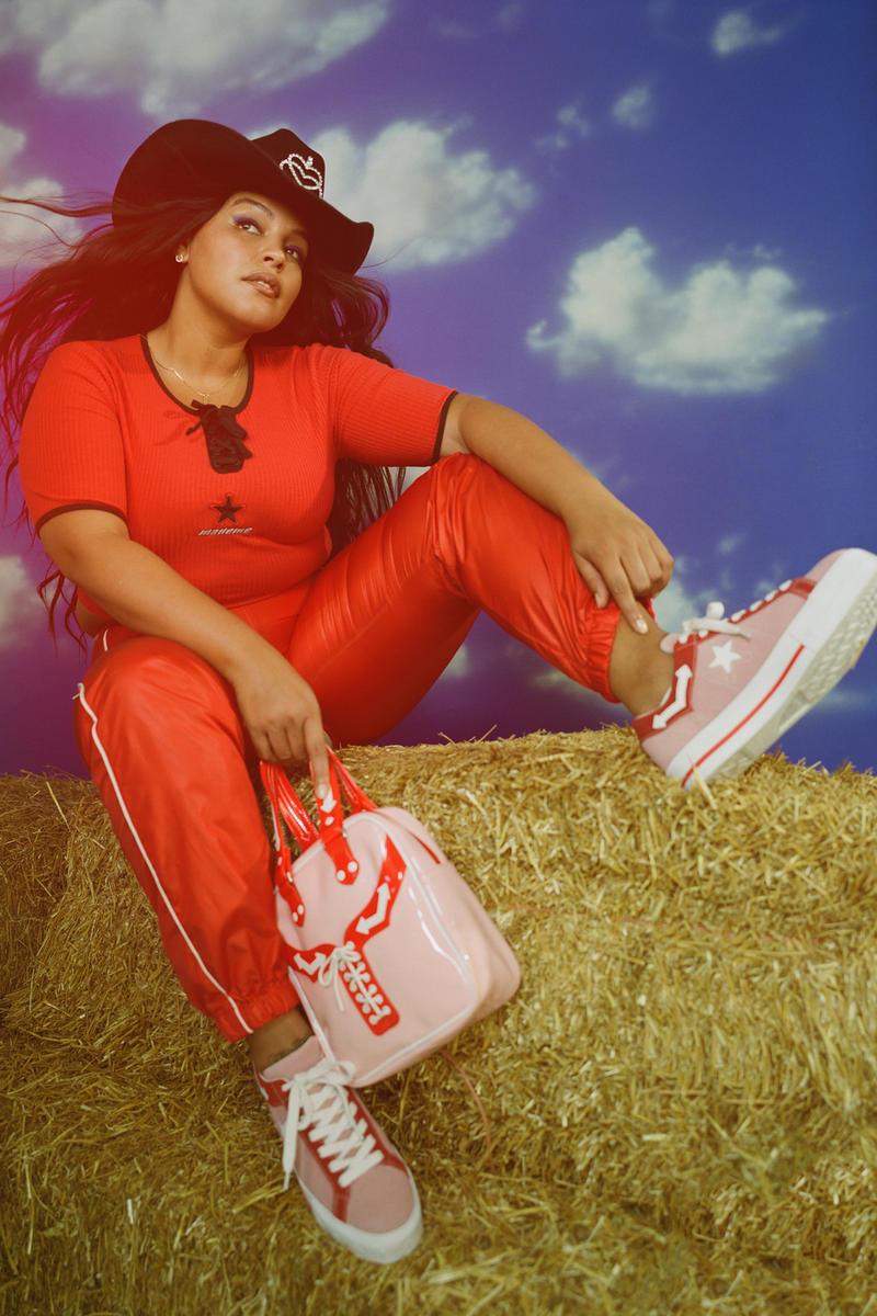 MadeMe x Converse Collaboration Paloma Elsesser One Star Pink Shirt Pants Red One Star Mini Bag Campaign
