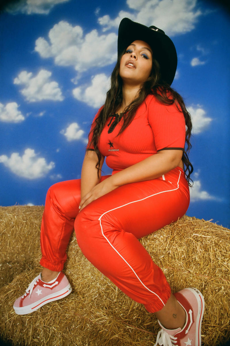 MadeMe x Converse Collaboration Paloma Elsesser One Star Pink Shirt Pants Red Campaign