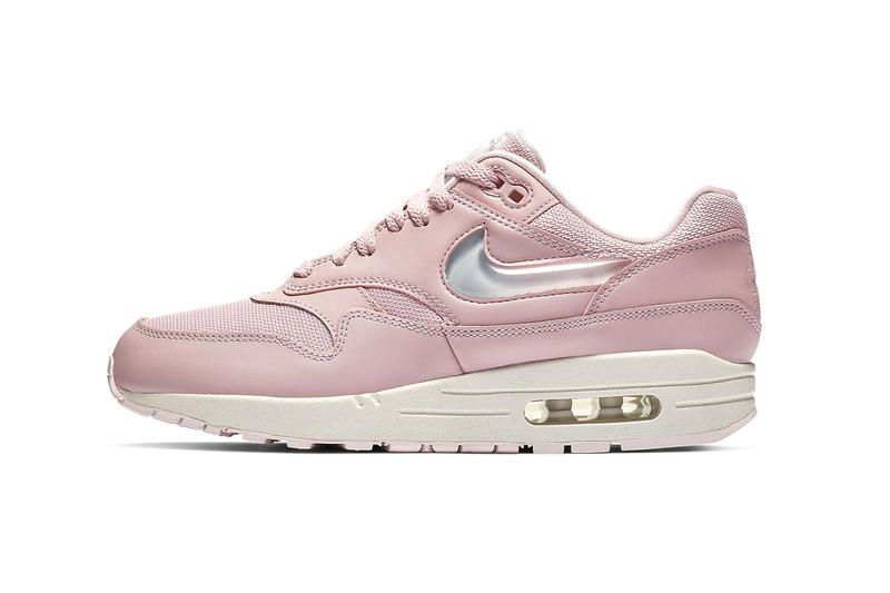 b43a5366874d nike air max 1 giant jewel details swoosh logo tongue tag black pink cream  tan glitter