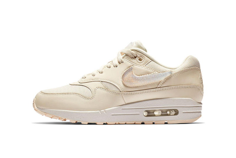 25035f0031f nike air max 1 giant jewel details swoosh logo tongue tag black pink cream  tan glitter