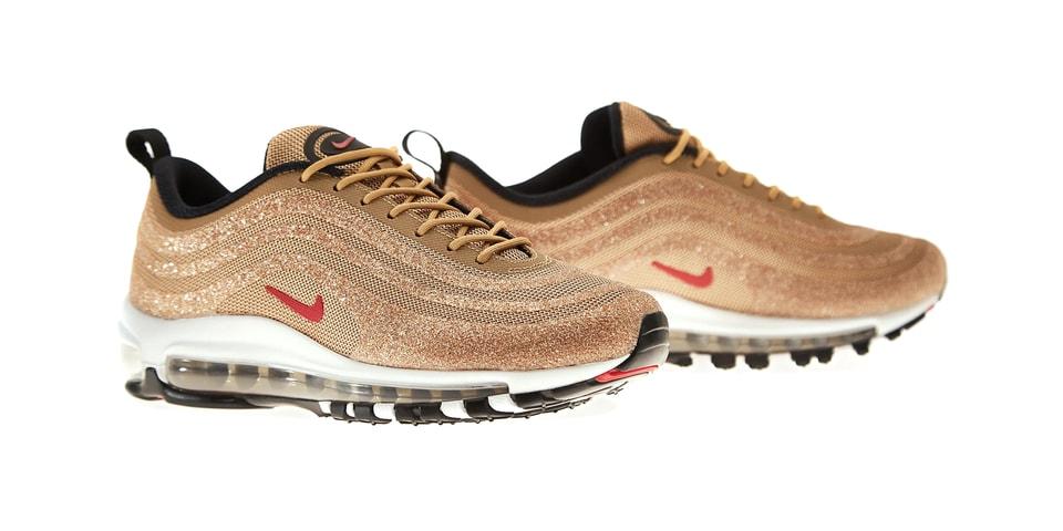 new styles f2b8e 16366 Nike Air Max 97 Swarovski Metallic Gold Release | HYPEBAE