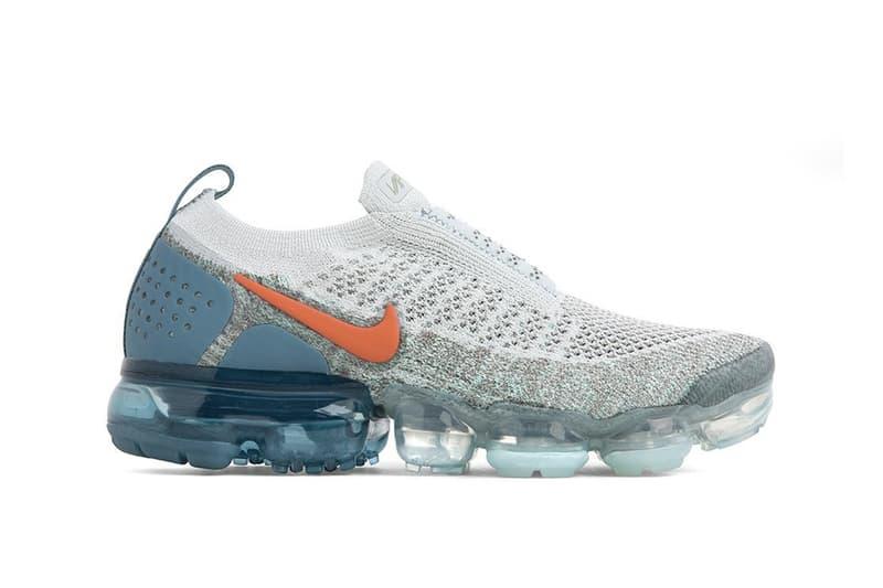 "Nike Air VaporMax Flyknit 2.0 ""Campfire Orange"" Silver Grey Blue Sneaker Shoe Air Unit"