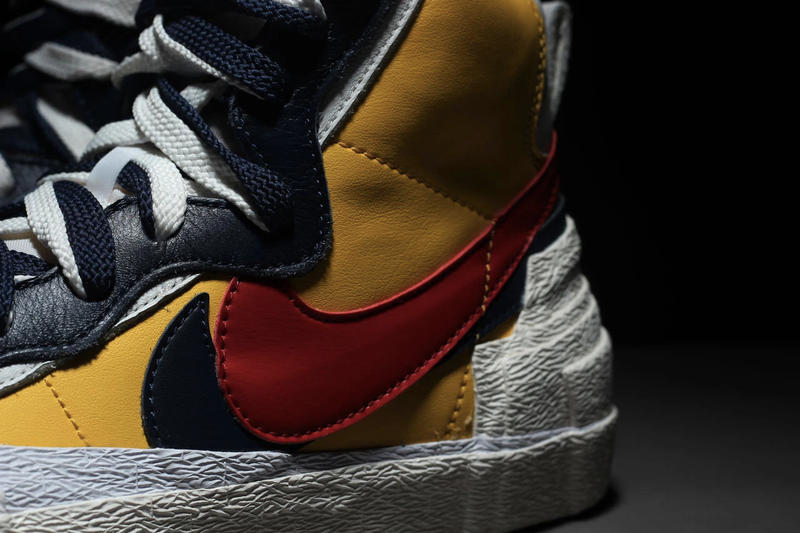 Nike Blazer Mid x Sacai Collaboration First Look Chitose Abe Layered Accent Yellow Blue Skateboard