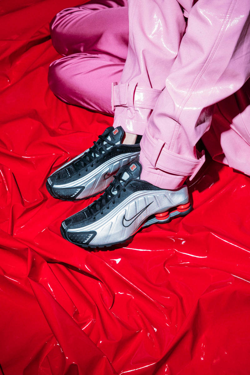 Nike Shox Launch Editorial Silver Black Red Pants Pink