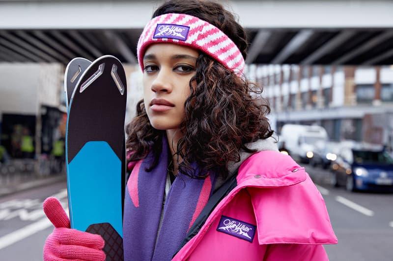 offwhite virgil abloh mytheresa skiwear collab collection puffer jacket scarves leggings headbands gloves bodysuits