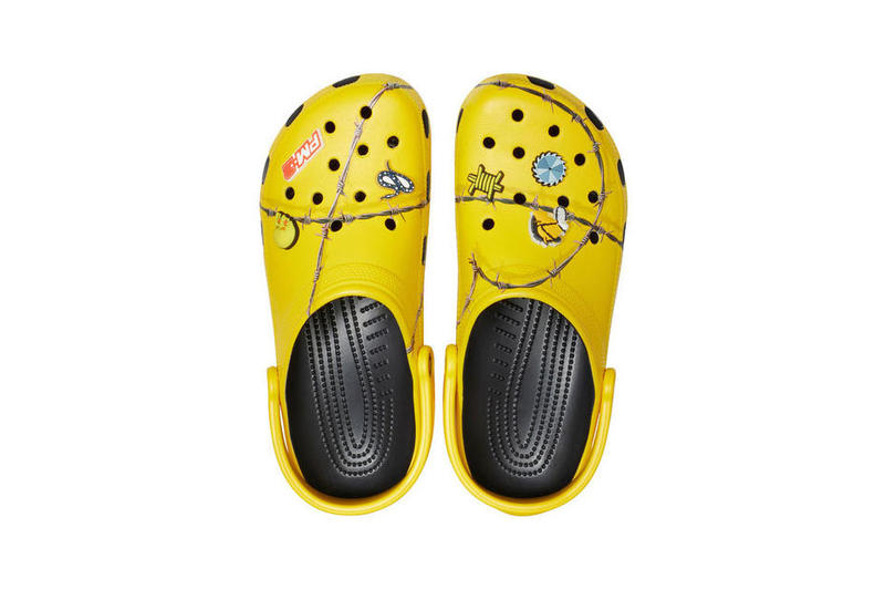 Post Malone Crocs Barbed Wire Clogs Yellow