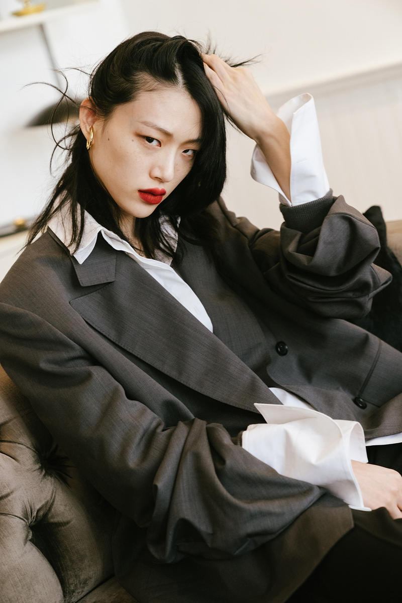 Sora Choi Korean Model Makeup Skincare Beauty Essentials Red Lip Black Hair Asian Supermodel suit white shirt