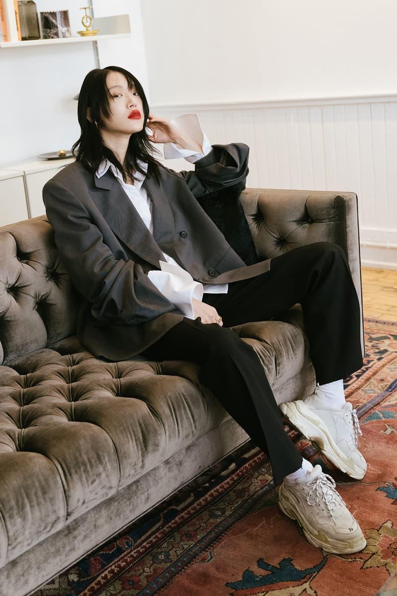 Sora Choi Korean Model Makeup Skincare Beauty Essentials Red Lip Black Hair Asian Supermodel balenciaga triple-s