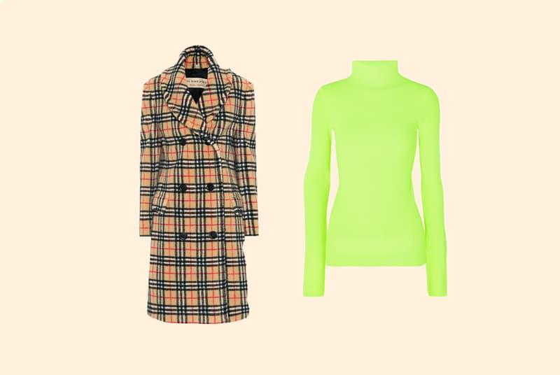 Burberry Vintage Check Faux Fur Coat Tan Red Black Helmut Lang Mock Neck Turtleneck Neon Green
