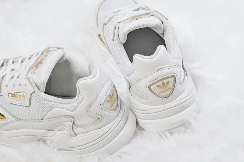 "adidas Originals Falcon in ""White/Metallic Gold"" Release Where to Buy White Sneaker Shoe"