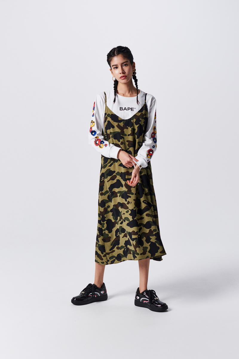 A Bathing Ape Spring Summer 2019 Collection Lookbook Slip Dress Green Black Shirt Grey