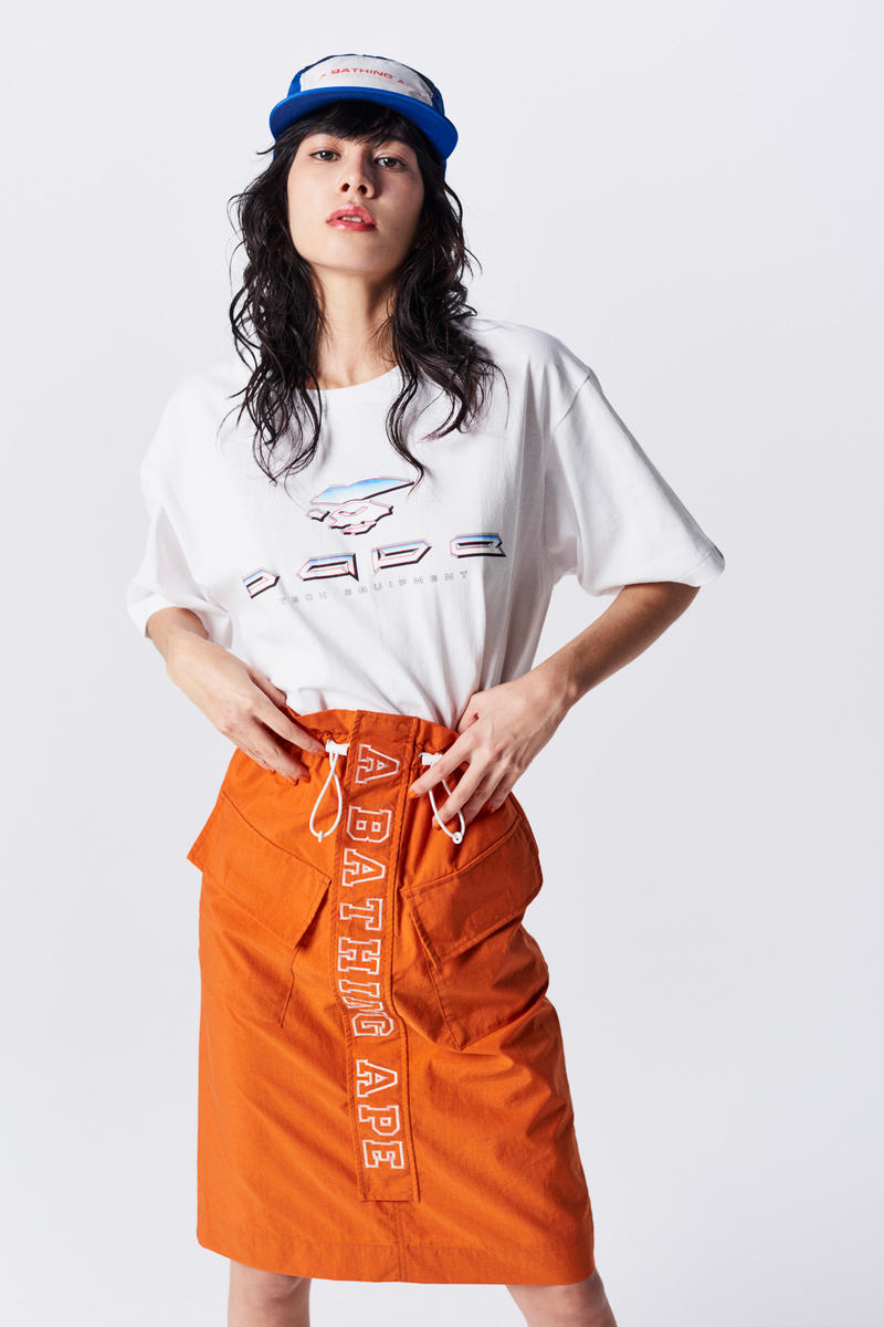 A Bathing Ape Spring Summer 2019 Collection Lookbook T-shirt White Skirt Orange