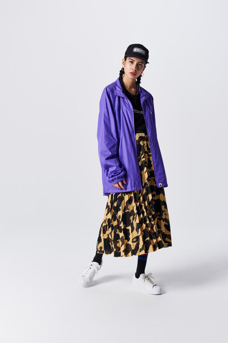 A Bathing Ape Spring Summer 2019 Collection Lookbook Jacket Purple Skirt Brown Green