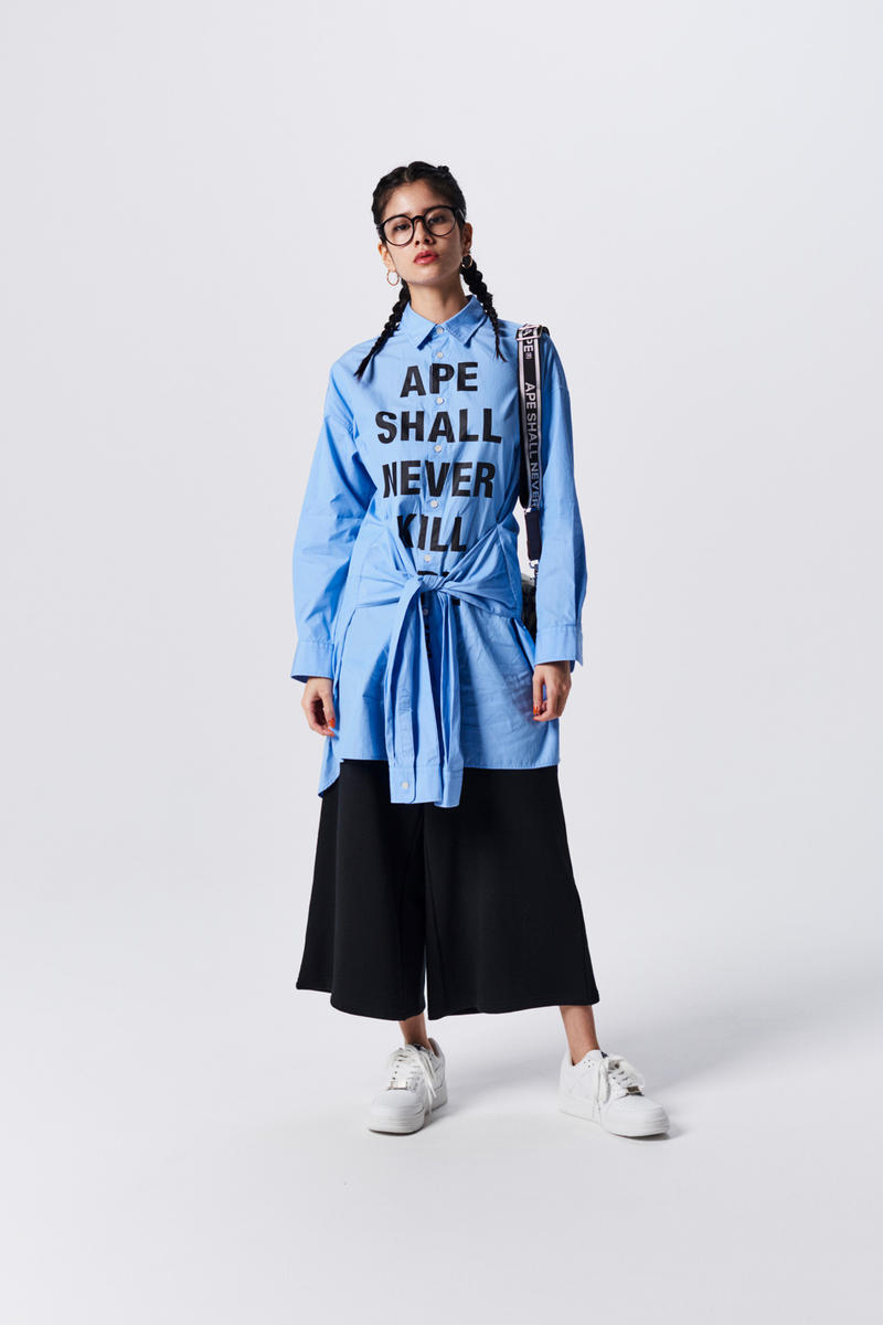 A Bathing Ape Spring Summer 2019 Collection Lookbook Collared Shirt Blue Culottes Black