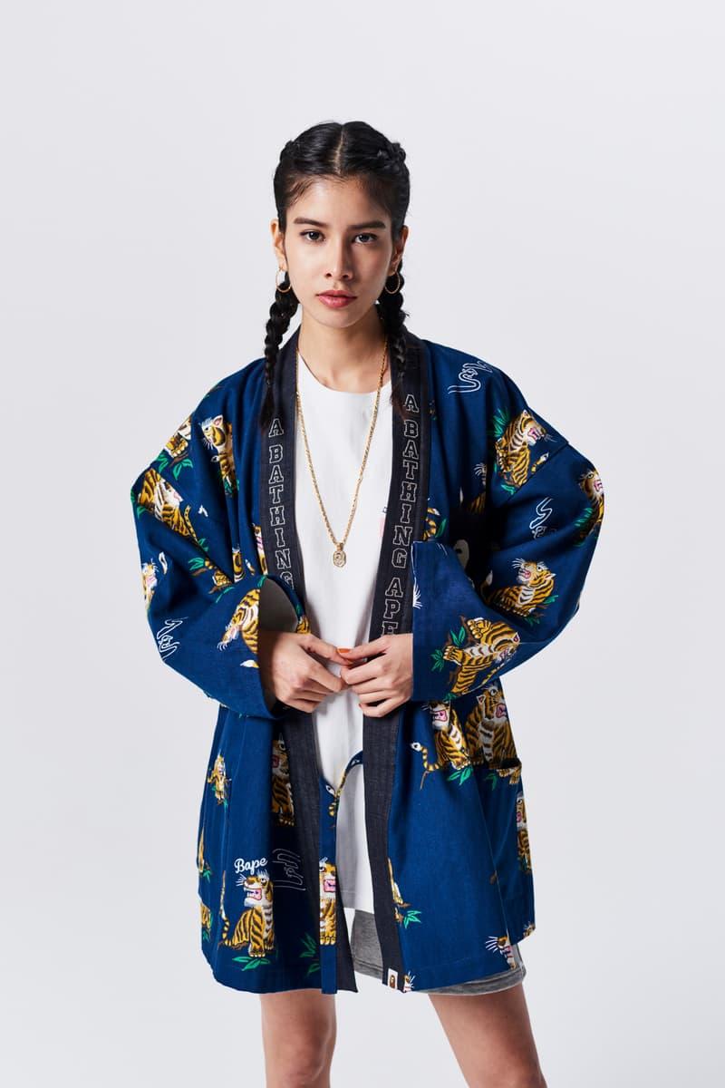 A Bathing Ape Spring Summer 2019 Collection Lookbook Kimono Blue Shirt Grey