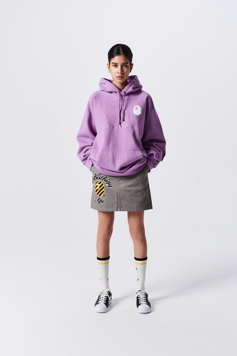 A Bathing Ape Spring Summer 2019 Collection Lookbook Hoodie Purple Skirt Tan