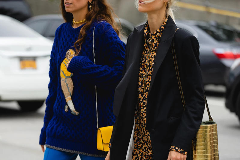 New York Fashion Week Spring Summer 2019 Streetstyle Sweater Blue Blazer Black