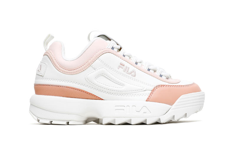 FILA Disruptor Low Blush Pink Salmon Marshmallow White Chunky Sneakers Trainers