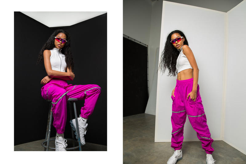 frankie collective sara gourlay nike rework pants reflective tape vancouver vintage