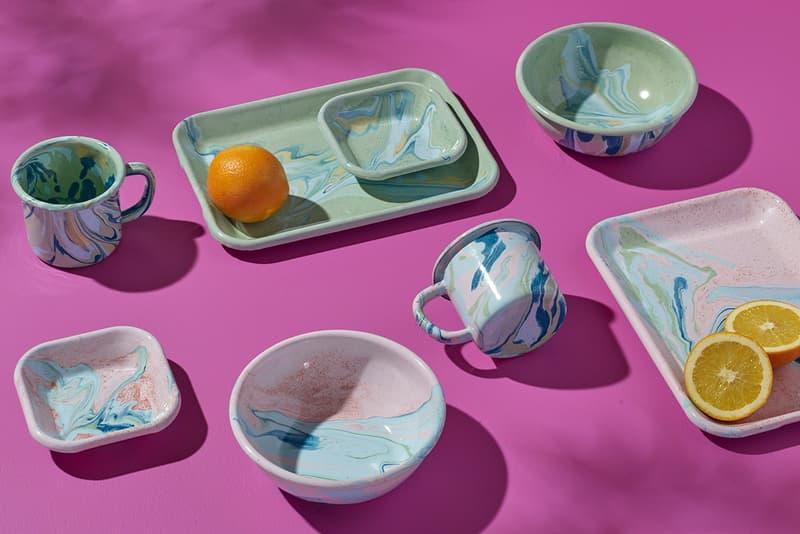 swirl enamel enamelware lifestyle kitchen mug plates dishes